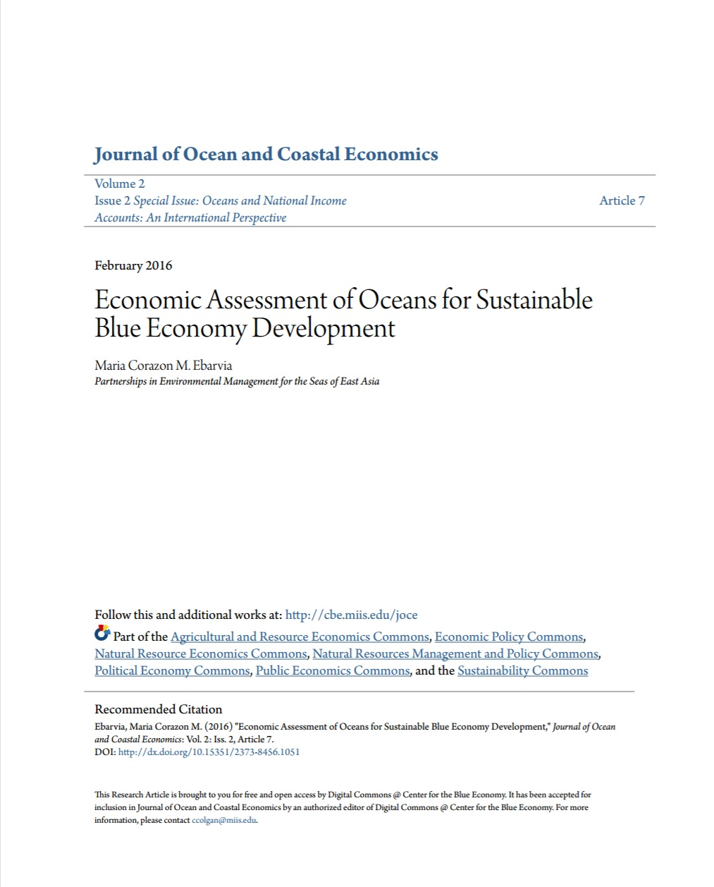 Economic Assessment of Oceans for Sustainable Blue Economy
