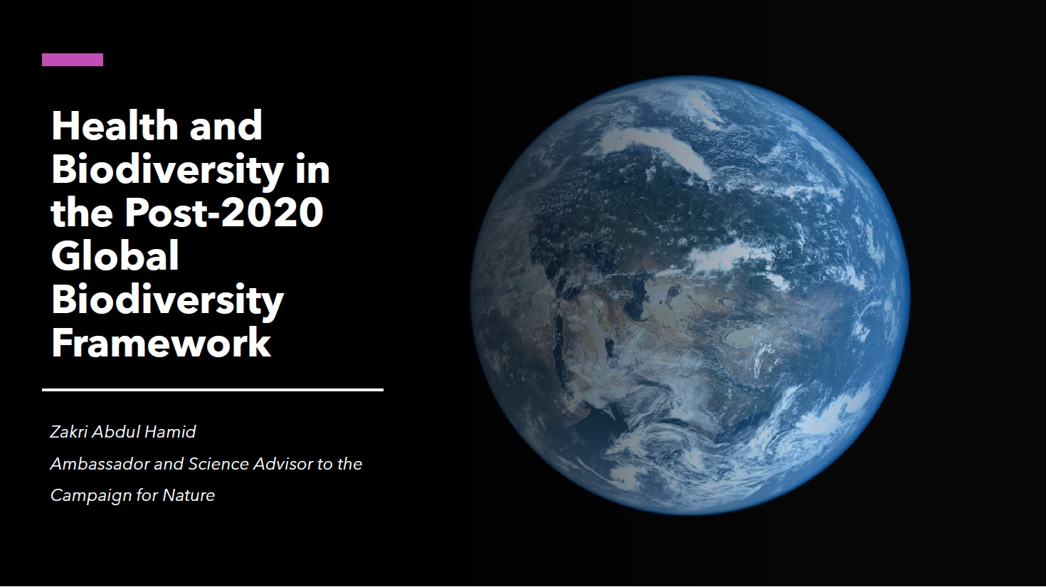 Health and Biodiversity in the Post 2020