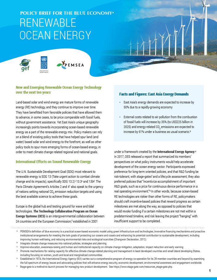 Policy Brief for the Blue Economy - Renewable Ocean Energy   PEMSEA
